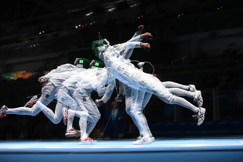 Fencing competition. Rio de Janeiro - Brazil  Fencing competition during the 2016 Olympic Games royalty free stock images