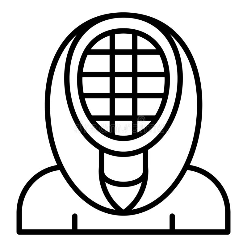 Fencing mask icon, outline style. Fencing mask icon. Outline fencing mask vector icon for web design isolated on white background stock illustration