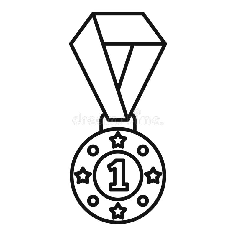 Fencing medal icon, outline style. Fencing medal icon. Outline fencing medal vector icon for web design isolated on white background vector illustration