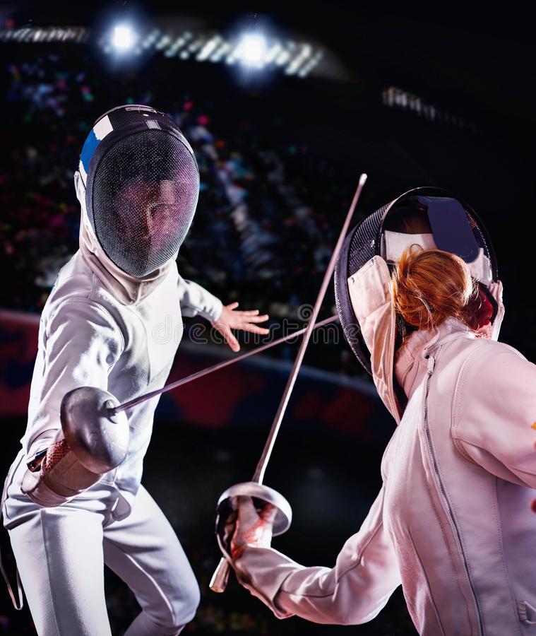 Free Fencing Sport For Women Epee Fencer. Stock Photography - 113046042