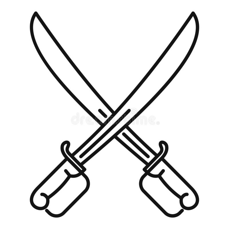 Fencing swords icon, outline style. Fencing swords icon. Outline fencing swords vector icon for web design isolated on white background vector illustration
