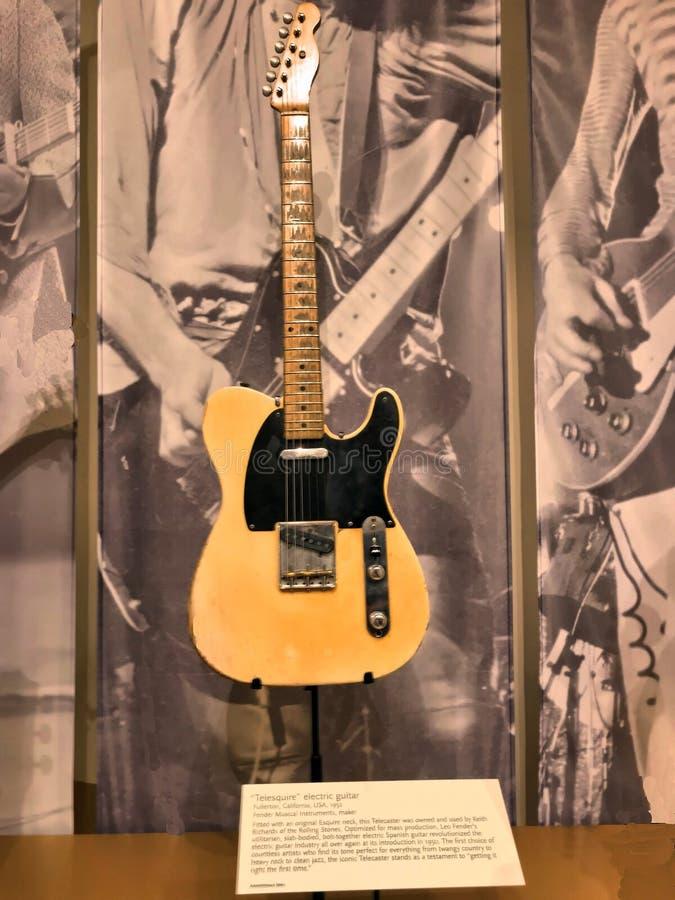 Fender Telecaster som används av Keith Richards fotografering för bildbyråer