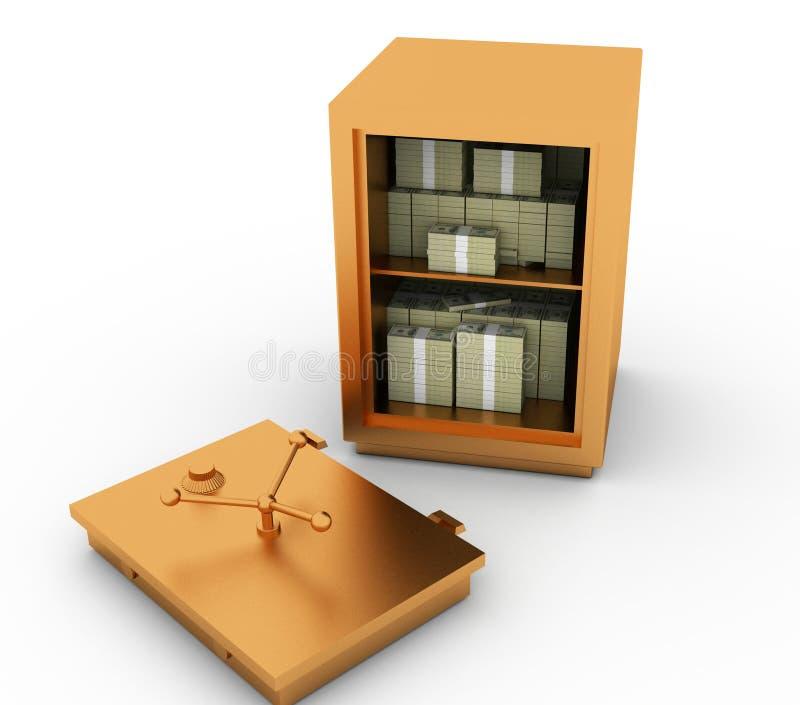 Fendez un coffre-fort avec l'argent illustration stock