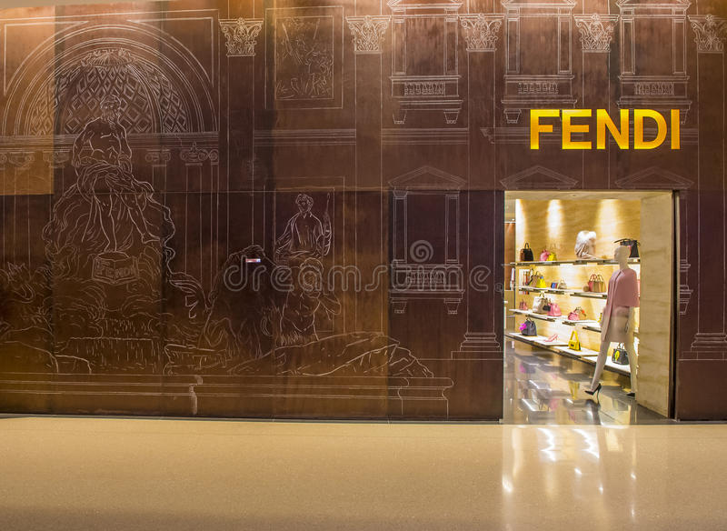 Fendi store. LAS VEGAS - DEC 18 : Exterior of a Fendi store in Las Vegas strip on December 18 , 2015. Fendi is a multinational luxury goods brand owned by LVMH royalty free stock photography