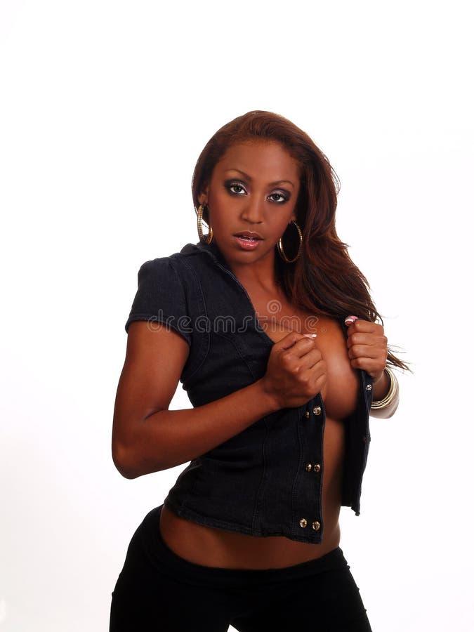 Fenditura blu aperta della maglia della donna Mixed di eredità fotografie stock libere da diritti