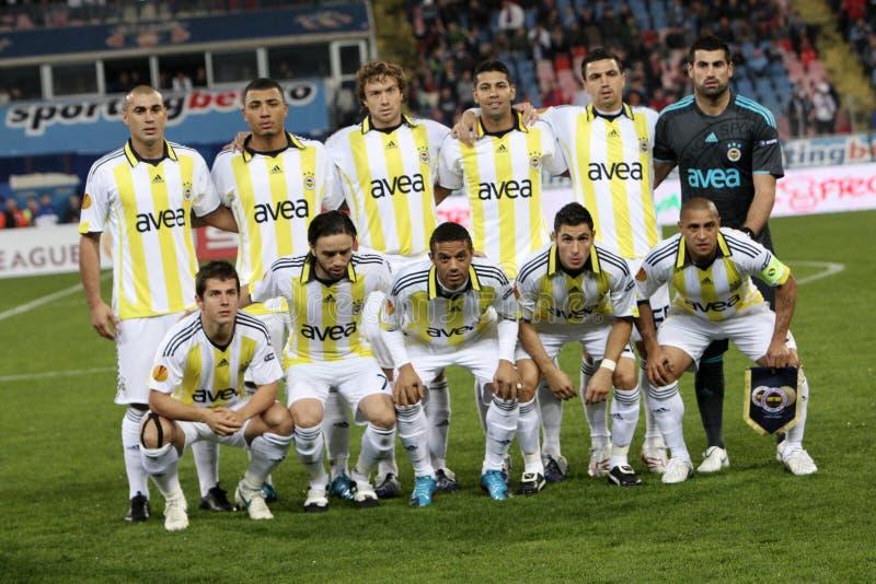 Fenerbahce football team. Playing against Steaua Bucharest, Europa League stock photography