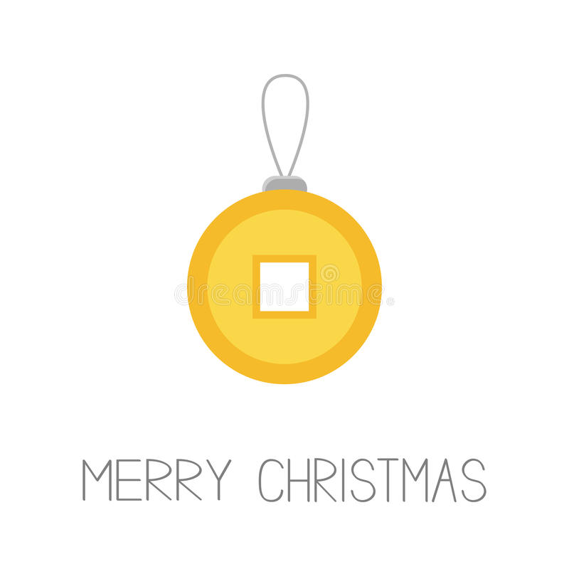 Feng shui Chinese coin with hole. China gold money. Merry Christmas ball. Flat design. White background Isolated. Greeting card. stock illustration