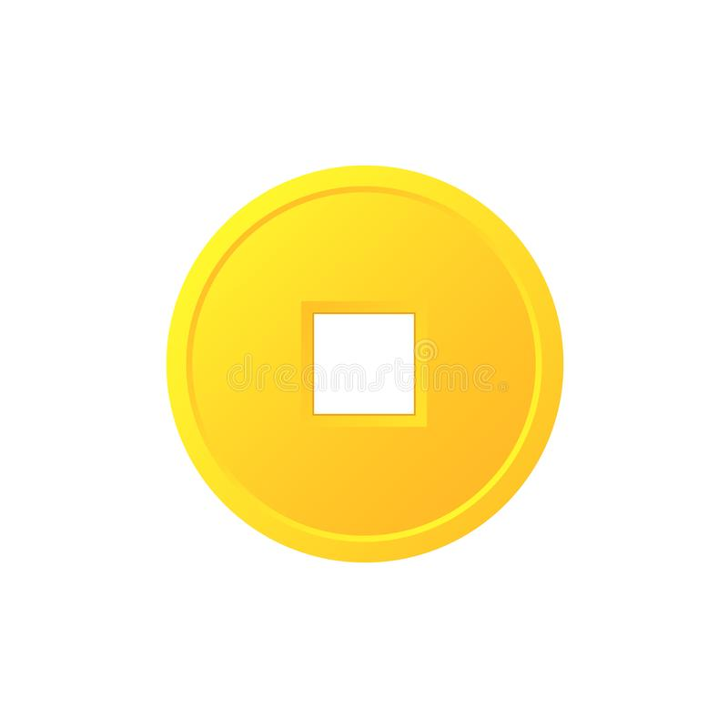 Feng shui chinese coin icon vector illustration