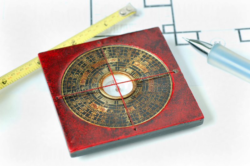 Feng shui compass stock photo