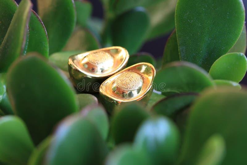 Feng Shui. Gold Ingot Royalty Free Stock Image