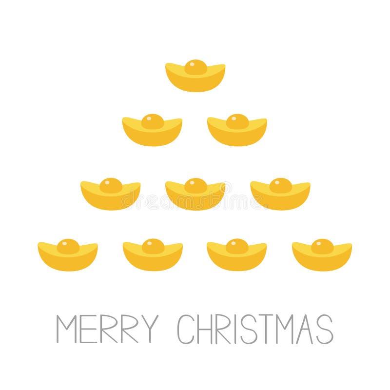Feng-shui Goldbarren Goldener Stangenfichten-Tannenbaum Frohe Weihnachten Flaches Design Weiße Hintergrund Grußkarte vektor abbildung