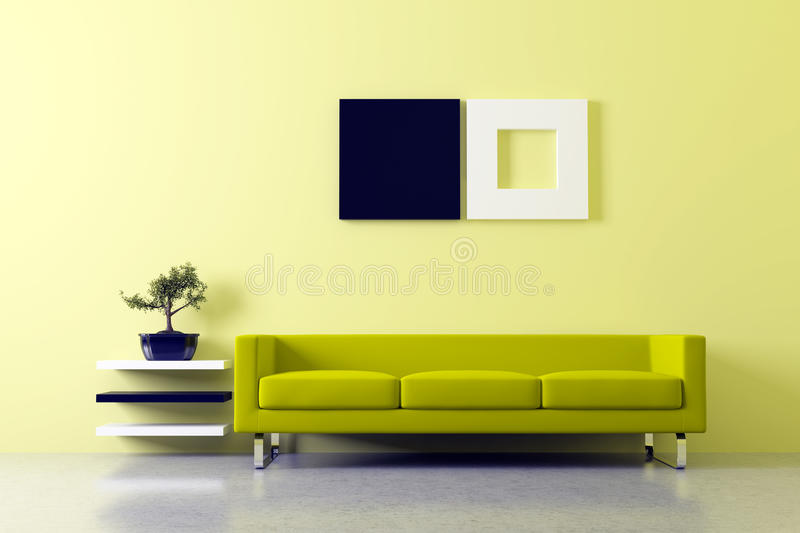 Feng shui interior. Modern Feng shui inerior with sofa and bonsai