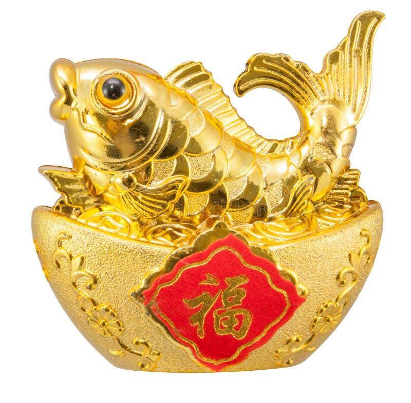 Feng-shui Verzierung eines goldenen Karpfens stockbilder