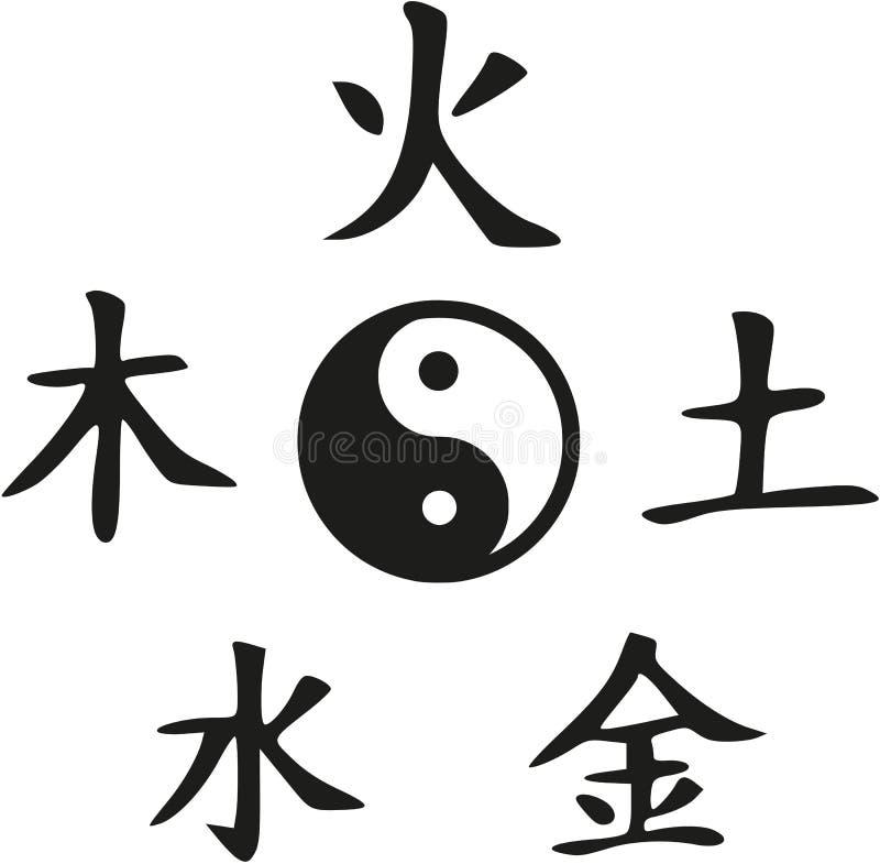 Feng Shui - Yin e Yang con cinque elementi royalty illustrazione gratis