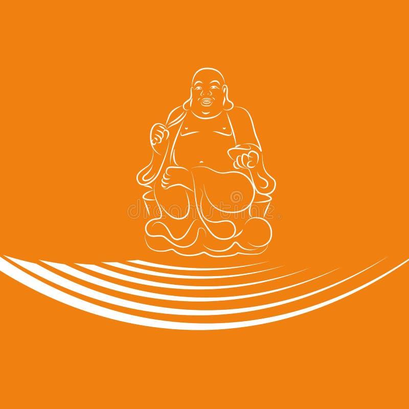 Feng shuibuddha översikt på orange bakgrund stock illustrationer