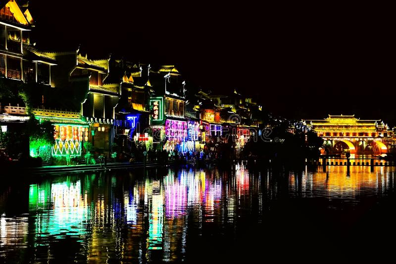 Fenghuang Ancient City, as a national historical and cultural city, the first batch of strong tourist counties in China. Located in Hunan Province, Xiangxi royalty free stock photo