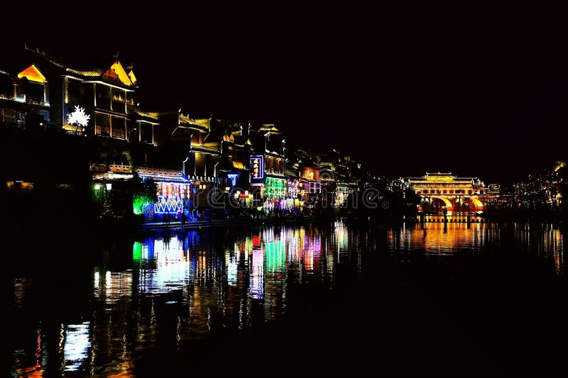 Fenghuang Ancient City, as a national historical and cultural city, the first batch of strong tourist counties in China. Located in Hunan Province, Xiangxi royalty free stock photos