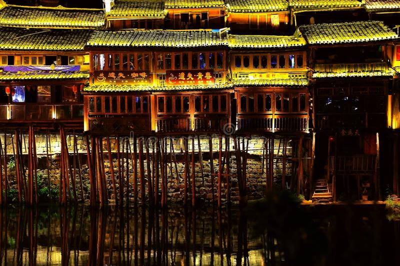 Fenghuang Ancient City, as a national historical and cultural city, the first batch of strong tourist counties in China. Located in Hunan Province, Xiangxi royalty free stock image