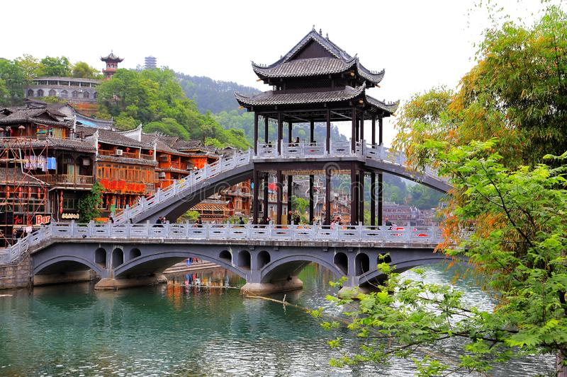 Fenghuang Ancient City, as a national historical and cultural city, the first batch of strong tourist counties in China. Located in Hunan Province, Xiangxi royalty free stock images