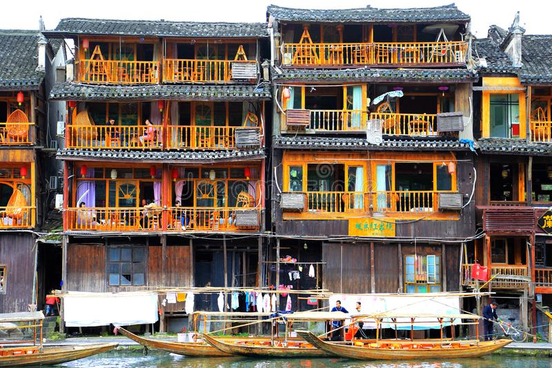 Fenghuang Ancient City, as a national historical and cultural city, the first batch of strong tourist counties in China. Located in Hunan Province, Xiangxi stock photography