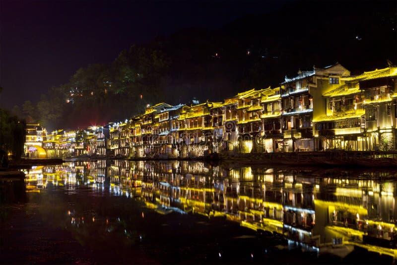 Fenghuang ancient town at night royalty free stock photos