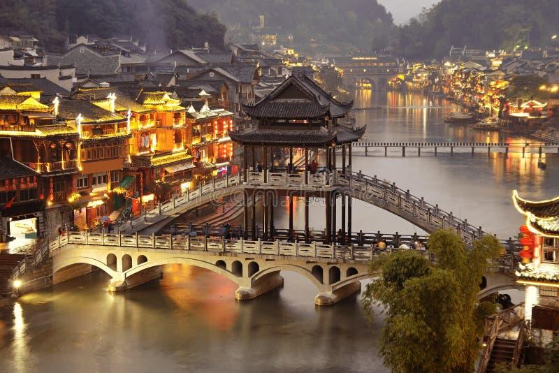 Fenghuang bij nacht stock afbeeldingen
