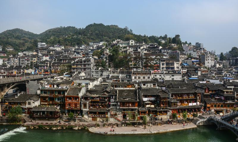 Fenghuang gammal stad i Hunan, Kina royaltyfria foton