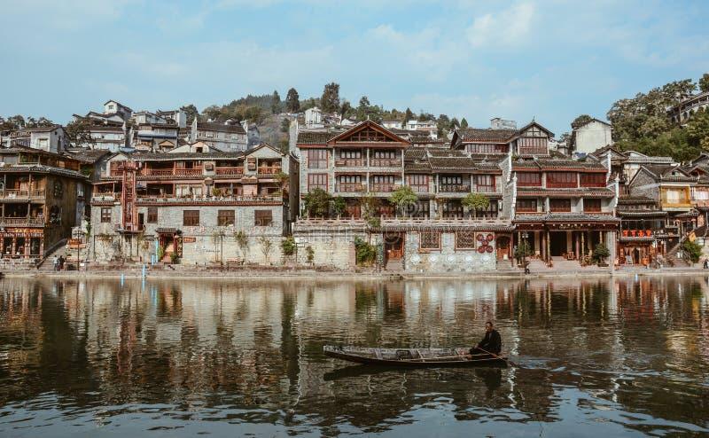 Fenghuang gammal stad i Hunan, Kina arkivfoto
