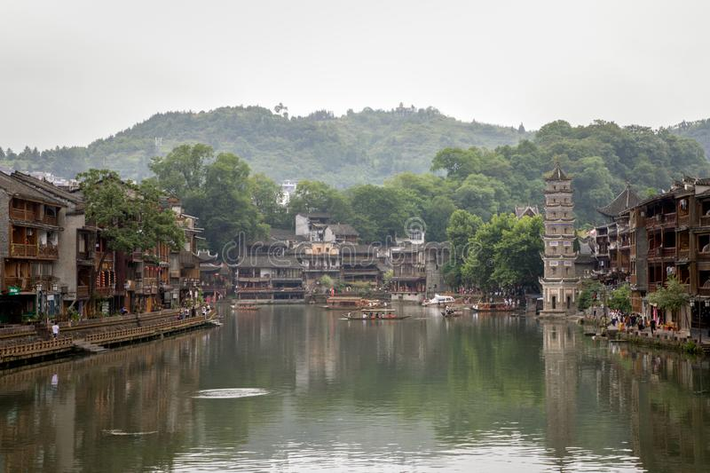 Fenghuang Old Town or Phoenix Town, West Hunan, China. With traditional wooden buildings and decoration. Hometown of famous novelist Shen Congwen royalty free stock photo