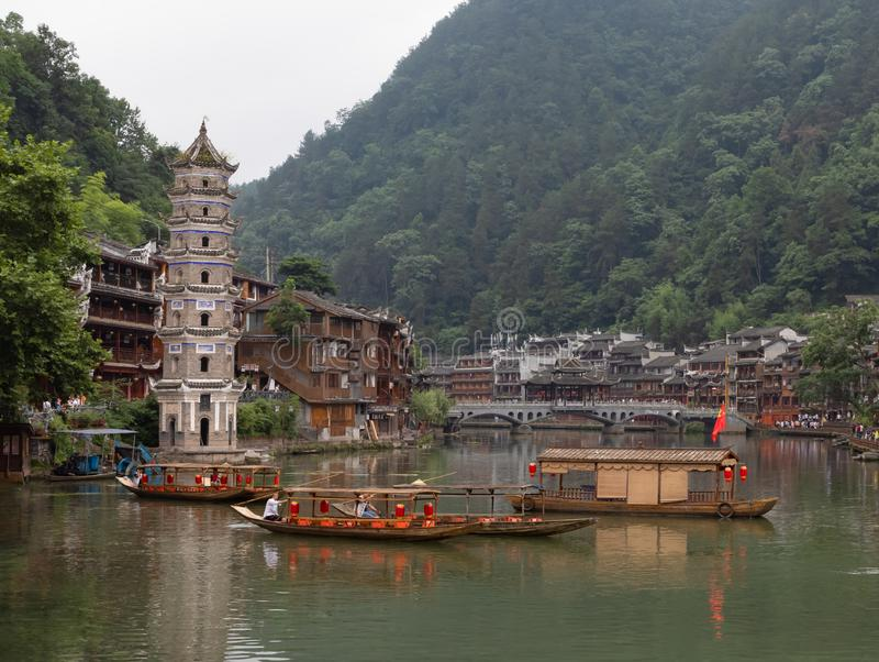 Fenghuang Old Town or Phoenix Town, West Hunan, China. With traditional wooden buildings and decoration. Hometown of famous novelist Shen Congwen stock image