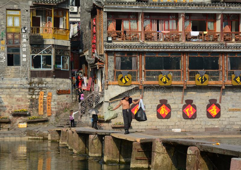 Fenghuang Oude Stad in Hunan, China stock afbeelding