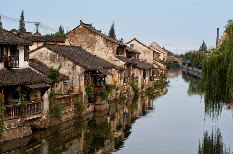 Fengjing Town. Buildings lining the canal in Fengjing town, Shanghai China late afternoon