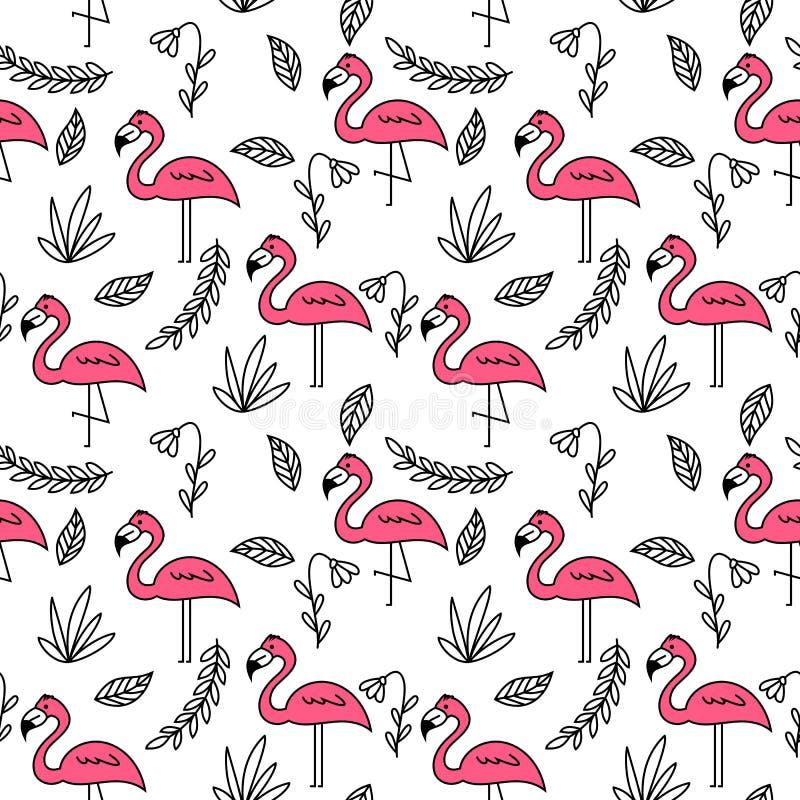 Fenicotteri rosa e modello senza cuciture degli elementi floreali illustrazione vettoriale