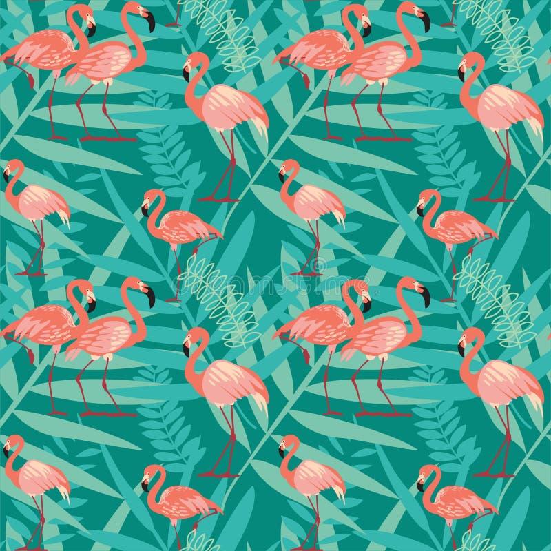 Fenicotteri rosa, uccelli esotici, foglie di palma tropicali illustrazione di stock