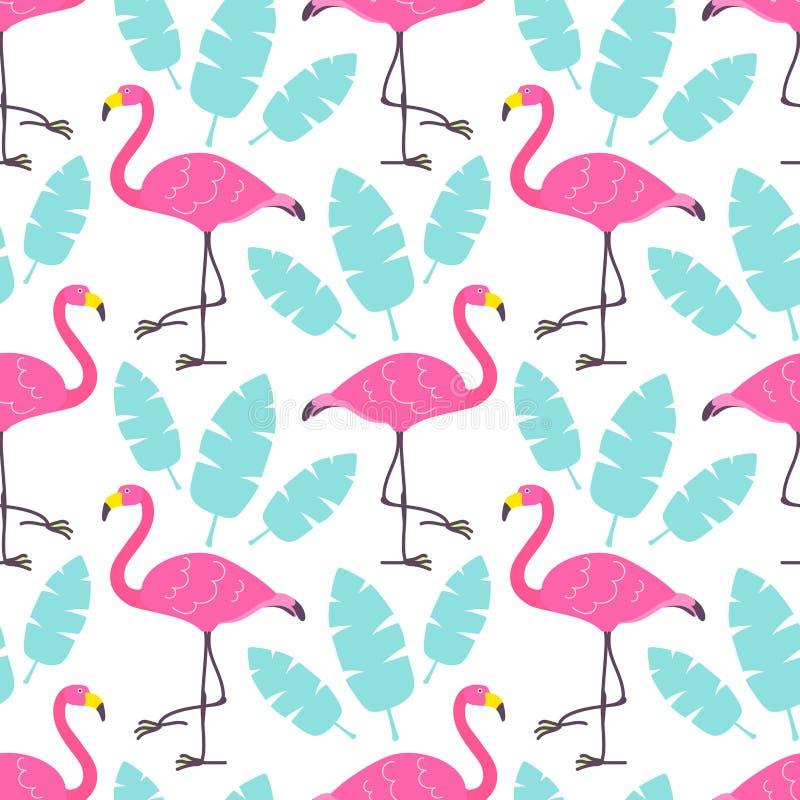 Fenicotteri svegli di rosa del fumetto e foglie tropicali verdi isolati su fondo bianco Il modello senza cuciture di vettore può  royalty illustrazione gratis