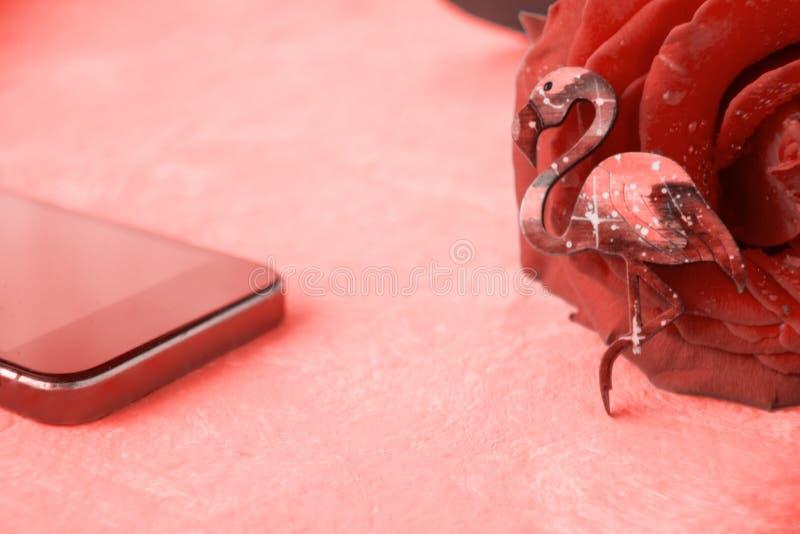 Fenicotteri, telefono cellulare e rosa Online datare, datante servizio fotografia stock