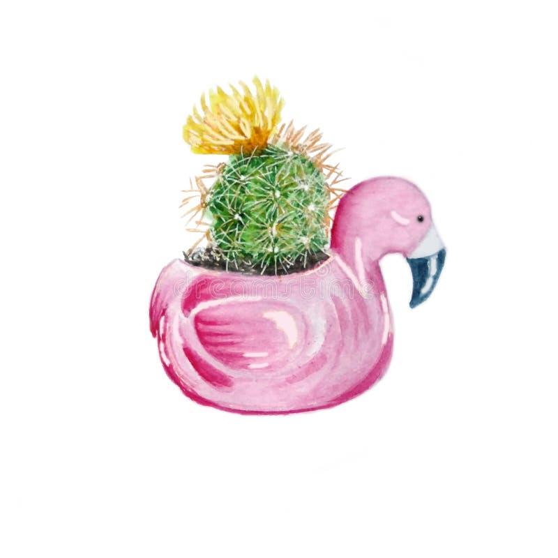 Fenicottero ceramico dell'acquerello con il cactus royalty illustrazione gratis
