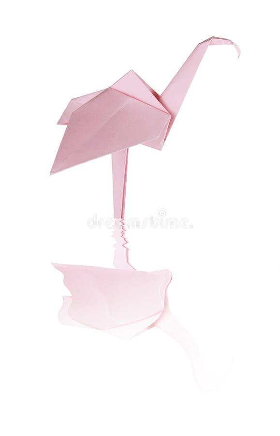 Fenicottero di carta rosa di Origami fotografia stock libera da diritti