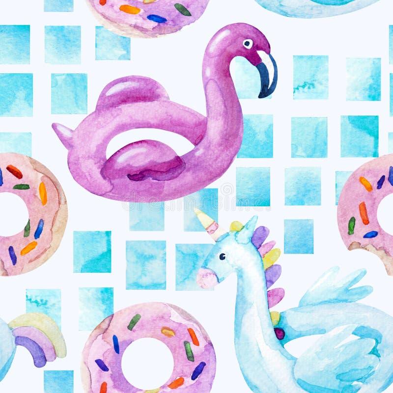 Fenicottero di colore di acqua, galleggiante dello stagno dell'unicorno, lilo della ciambella dell'anello che galleggia nella pis illustrazione di stock