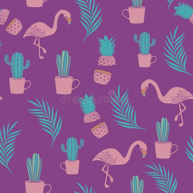 fenicottero esotico, ananas, foglie di palma e fondo senza cuciture del modello del cactus royalty illustrazione gratis