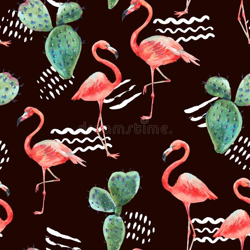Fenicottero rosa dell'acquerello e modello senza cuciture dei fiori tropicali royalty illustrazione gratis