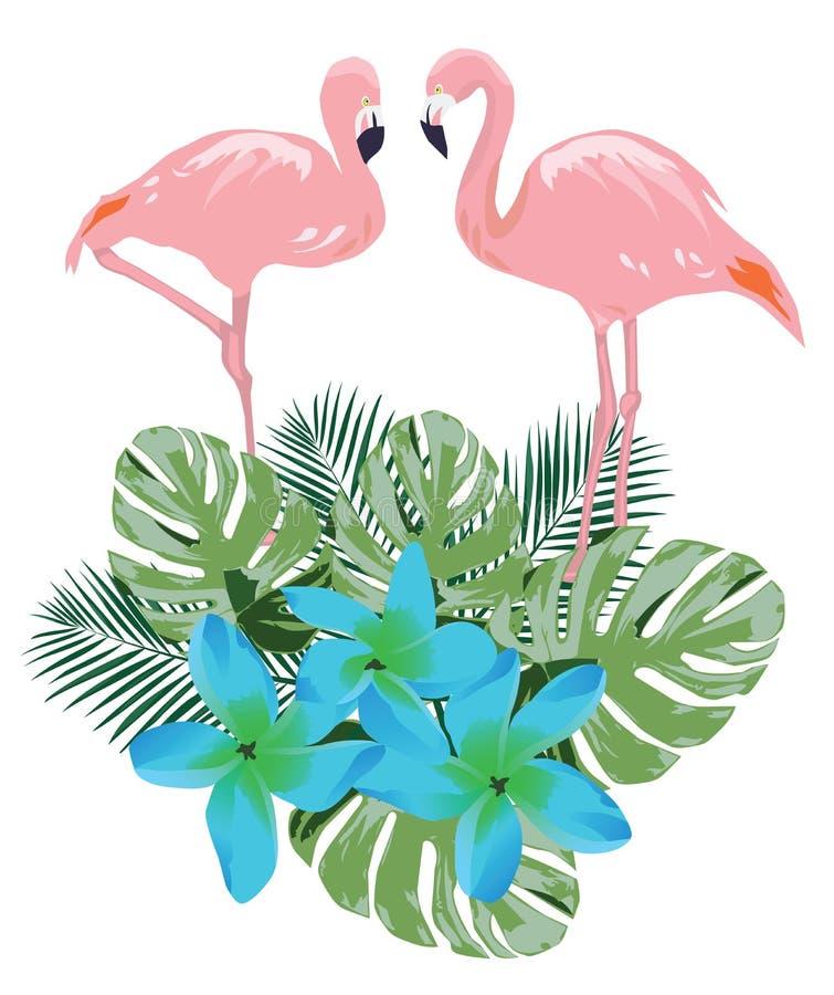 Fenicottero rosa di vettore, fiori tropicali illustrazione di stock
