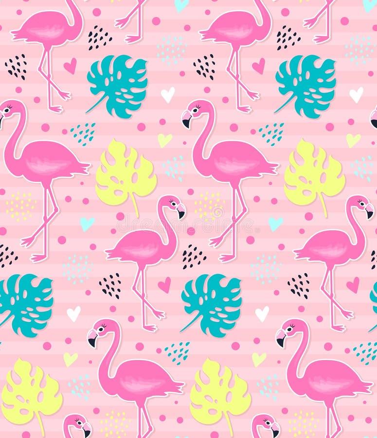 Fenicottero rosa di vettore, modello senza cuciture di monstera Priorità bassa tropicale di estate illustrazione di stock