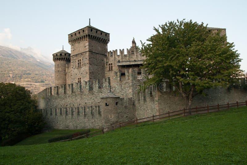 Fenis瓦尔d `奥斯塔,意大利中世纪城堡  免版税库存图片