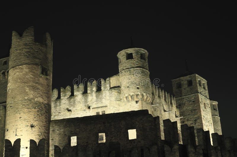 Fenis castle. Already exists in the thirteenth century, the castle of Fenis achieves his final appearance between 300 and 400, following changes and enhancements stock photos