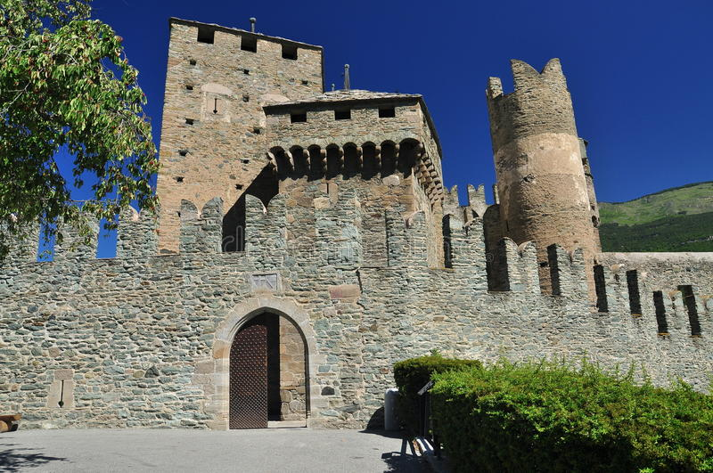 Download Medieval Castle Walls, Castello Fenis Aosta Valley, Italy Stock Image - Image: 26047819