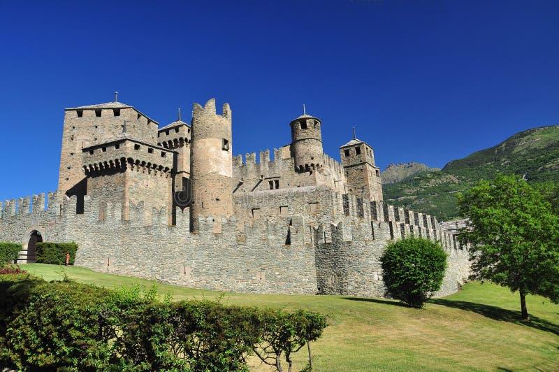 Fenis slott, Aosta dal, Italien fotografering för bildbyråer