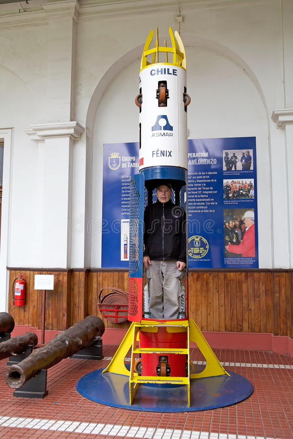 Fenix capsule at the Maritime Museum in Valparaiso, Chile. It was used for the rescue of 33 trapped miners after the 2010 Copiapo mining accident. It was stock image