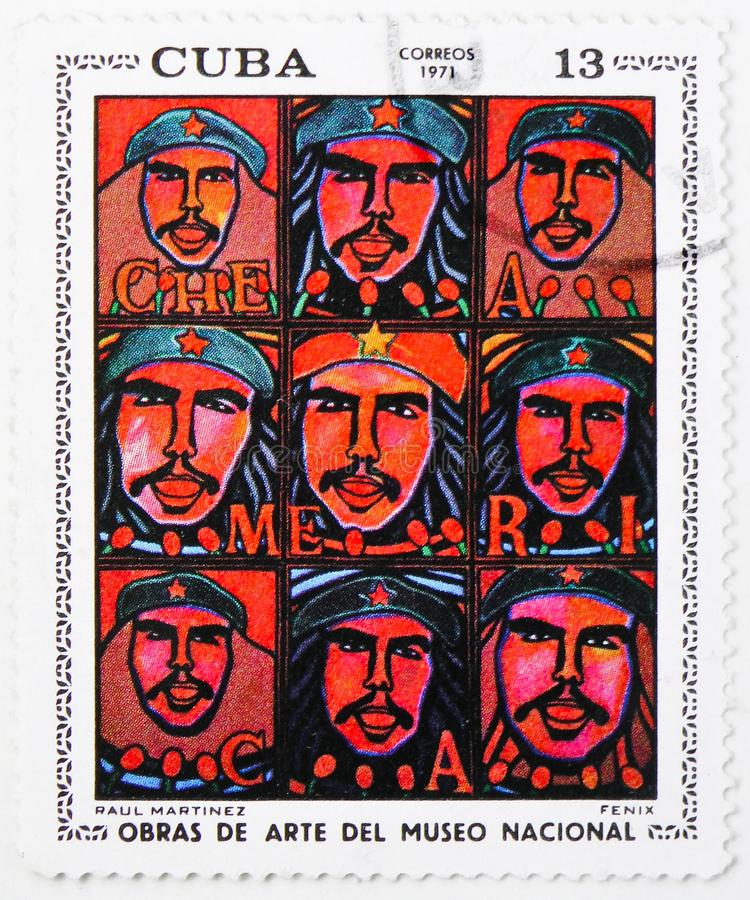 Fenix, Raul Martinez, Paintings from the National Museum (1971) serie, circa 1971. MOSCOW, RUSSIA - JULY 25, 2019: Postage stamp printed in Cuba shows Fenix royalty free stock image