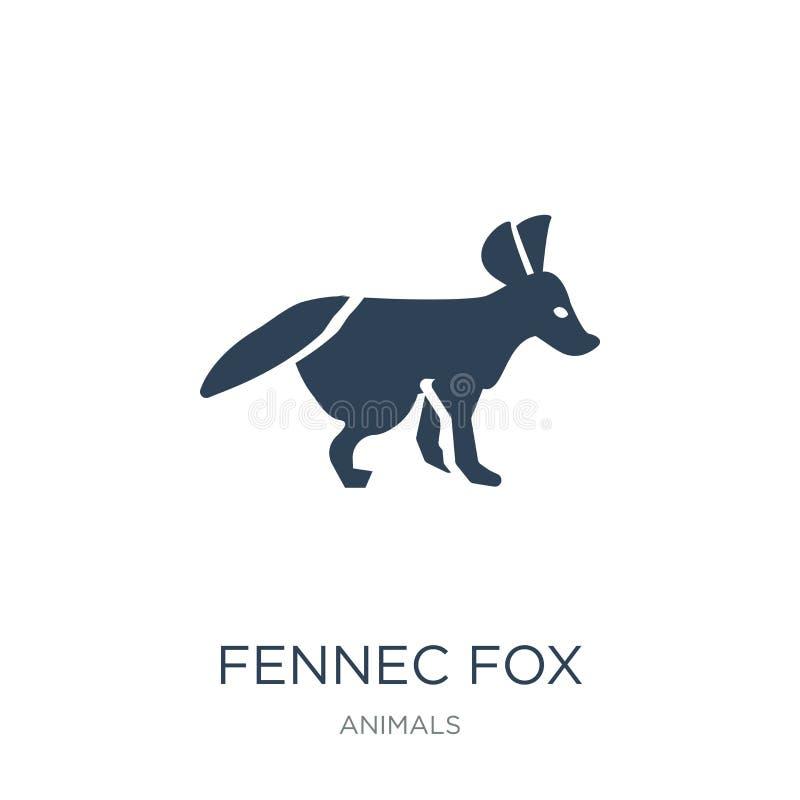 fennec在时髦设计样式的狐狸象 fennec欺骗在白色背景隔绝的象 fennec狐狸现代传染媒介的象简单和 库存例证